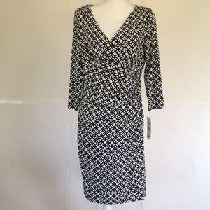 NWT ~RALPH LAUREN~ Long sleeve cream/navy dress